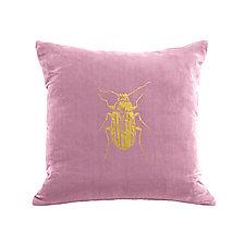 Gilded Luxe Beetle Pillow by Helene  Ige (Velvet Pillow)