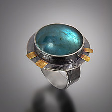 Round Labradorite Ring by Patricia McCleery (Gold, Silver & Stone Ring)