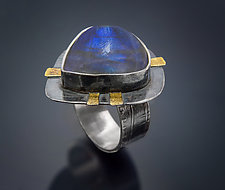 Bright Blue Labradorite Ring by Patricia McCleery (Gold, Silver & Stone Ring)