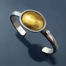 Mesa Cuff with Topaz by Patricia McCleery (Gold, Silver & Stone Bracelet)