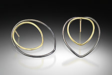 Lotus Lines Earrings by Amerinda Alpern (Gold & Silver Earrings)