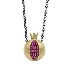 Pomegranate Gold Necklace by Boline Strand (Gold & Stone Necklace)
