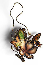 Art Nouveau Butterfly & Azalea Pin by Hsiang-Ting  Yen (Pearl, Copper & Enamel Pin)