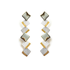 Reveal Six-Tiered Square Dangle Earrings by Hsiang-Ting  Yen (Gold, Silver & Enamel Earrings)
