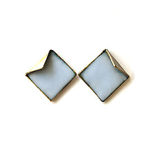 Reveal Square Post Earrings by Hsiang-Ting  Yen (Gold, Silver & Enamel Earrings)