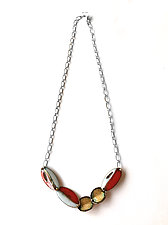 Reveal Single-Fold Oval Statement Necklace by Hsiang-Ting  Yen (Gold, Silver & Enamel Necklace)