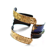 Fold-Formed Open Enameled Cuff Bracelet by Hsiang-Ting  Yen (Gold, Copper & Enamel Bracelet)