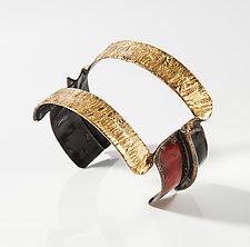 Fold-Formed Open Enameled Cuff Bracelet by Hsiang-Ting  Yen (Gold, Copper & Enamel Bracelet)