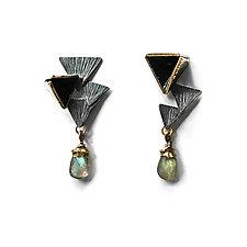 Reveal Mismatch Labradorite Earrings by Hsiang-Ting  Yen (Gold, Silver & Enamel Earrings)