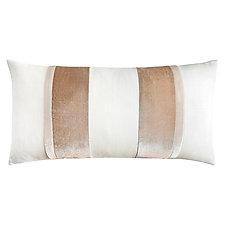 Linen Stripe Oblong Pillow by Kevin O'Brien (Linen & Silk Velvet Pillow)