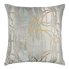 Metallic Willow Velvet Pillow by Kevin O'Brien (Silk Velvet Pillow)