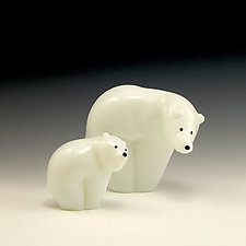 Polar Bear Family by Orient & Flume Art Glass (Art Glass Sculpture)