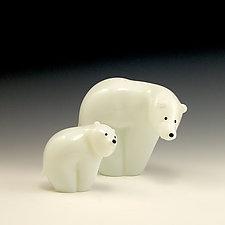 Polar Bear Family by Orient & Flume Art Glass (Art Glass Sculpture)