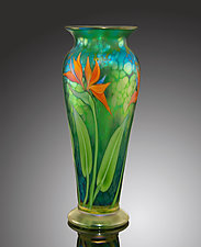 Teal Iridescent Bird of Paradise Vase by Bruce  Sillars (Art Glass Vase)