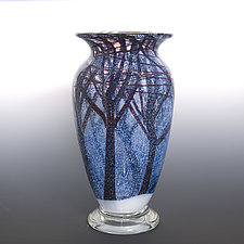 Winter Snowstorm by Orient & Flume Art Glass (Art Glass Vase)