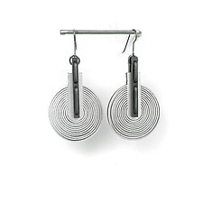 Area 51 Earrings by Karole Mazeika (Silver & Rubber Earrings)
