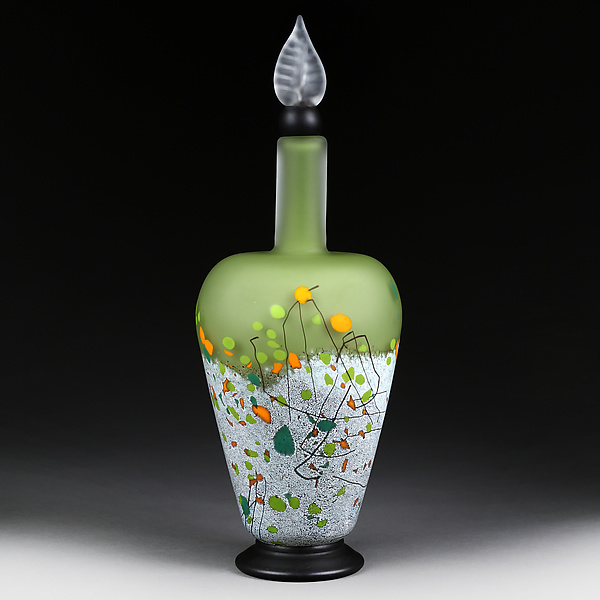Mountain Meadow Tapered Cylinder Decorative Bottle By Eric Bladholm Art Glass Bottle Artful Home