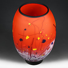 Calligraphic Crimson (Studio Sample) by Eric Bladholm (Art Glass Vessel)
