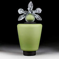 Novi Zivot Mali (New Life Petite) Fern Satin Tapered Cylinder by Eric Bladholm (Art Glass Vessel)