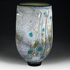 Wildflower Wisteria Flat-sided Vase Studio Sample by Eric Bladholm (Art Glass Vase)