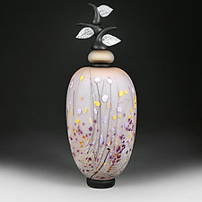 Izrazi Zivota (Expressions of Life) Satin Pale Coral Abstract by Eric Bladholm (Art Glass Vessel)