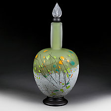 Mountain Meadow Elongated Sphere Decorative Bottle by Eric Bladholm (Art Glass Bottle)