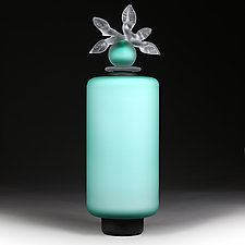 Novi Zivot Luksuz (New Life Deluxe) Aquamarine Satin Cylinder by Eric Bladholm (Art Glass Vessel)