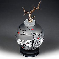 Zimska Jabuka (Winter Apple) Bronze Sphere by Eric Bladholm (Art Glass Vessel)