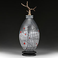 Zimska Jabuka (Winter Apple) Bronze Special Edition Elongated Sphere by Eric Bladholm (Art Glass Vessel)