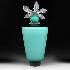 Novi Zivot Luksuz (New Life Deluxe) Aquamarine Satin Tapered Cylinder by Eric Bladholm (Art Glass Vessel)