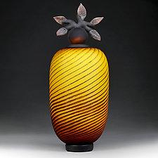 Tiger Tango Branch Vessel by Eric Bladholm (Art Glass Vessel)
