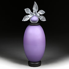 Novi Zivot Mali (New Life Petite) Amethyst Satin Elongated Sphere by Eric Bladholm (Art Glass Vessel)