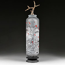 Zimska Jabuka (Winter Apple) Bronze Tall Cylinder by Eric Bladholm (Art Glass Vessel)