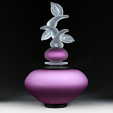 Izrazi Zivota (Expressions of Life) Satin Violet Abstract by Eric Bladholm (Art Glass Vessel)