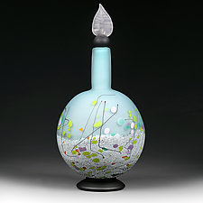 Glacier Garden Sphere Decorative Bottle by Eric Bladholm (Art Glass Bottle)