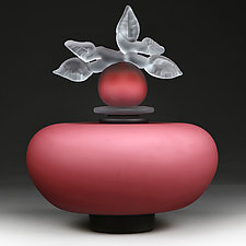 Novi Zivot Luksuz (New Life Deluxe) Regal Rose Satin Short Sphere by Eric Bladholm (Art Glass Vessel)