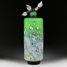 Vesnyani Polya (Spring Fields) Tall Cylinder by Eric Bladholm (Art Glass Vessel)