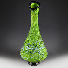 Earthly Emerald Tall Vase  (Studio Sample) by Eric Bladholm (Art Glass Vase)