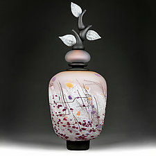 Izrazi Zivota (Expressions of Life) Satin Peach Abstract by Eric Bladholm (Art Glass Vessel)