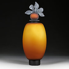 Novi Zivot Luksuz (New Life Deluxe) Topaz Satin Elongated Sphere by Eric Bladholm (Art Glass Vessel)