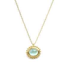 New Palace Necklace with Oval Tourmaline Cabochon by Marian Maurer (Gold & Stone Necklace)