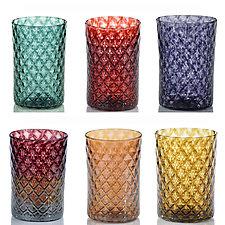 Mixed Mandala Drinking Glass Sets by 2BGlass (Art Glass Drinkware)