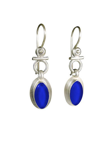 Egyptian Leaf Earrings in Cobalt Glass
