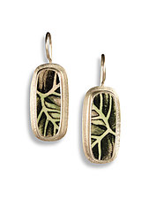 Long Rectangle Earrings Japanese Leaf by Amy Faust (Silver & Ceramic Earrings)