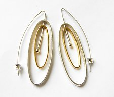 Double Oval Earrings with 24K Gold Vermeil by Laurette O'Neil (Gold & Silver Earrings)
