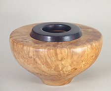Enclosed Form of Maple Burl and African Blackwood by Eric Reeves (Wood Vessel)