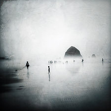Cannon Beach by Gloria Feinstein (Black & White Photograph on Aluminum)
