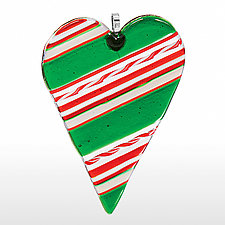 Holiday Heart by Cherie Virden (Art Glass Ornament)