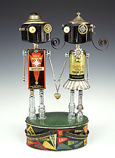 Tin Heartthrobs by Amy Flynn (Mixed-Media Sculpture)