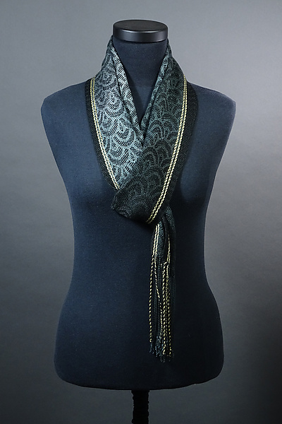 Waves Scarf in Grays with Yellow Accent
